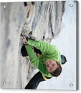 A Woman Climbs The Line 5.9 At Lovers Acrylic Print