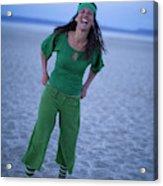 A Woman Having Fun On The Cracked Earth Acrylic Print