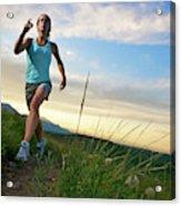 A Woman Trail Running Near Boulder, Co Acrylic Print