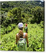 A Young Woman Hikes Through The Jungles Acrylic Print