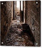Abandoned Building - Hallway To Ladies Room Acrylic Print