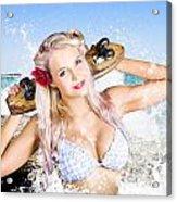 Active Sexy Summer Beach Babe With Skateboard Acrylic Print