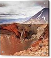 Active Volcanoe Cone Of Mt Ngauruhoe New Zealand Acrylic Print