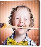 Adorable Little Boy Cooking Chocolate Easter Cake Acrylic Print