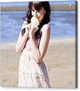 Adorable Seaside Girl Acrylic Print
