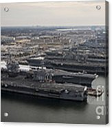 Aircraft Carriers In Port At Naval Acrylic Print