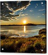 Alaskan Midnight Sun Over The Lake Acrylic Print