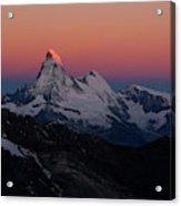 Alpenglow On The Matterhorn And Dent Acrylic Print