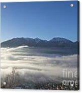 Alpine Village Under Sea Of Fog Acrylic Print