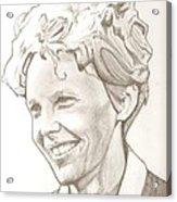 Amelia Earhart Drawing Acrylic Print