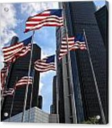 American Flags In Front Of The Detroit Renaissance Center Acrylic Print