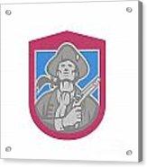 American Patriot With Flintlock Shield Retro Acrylic Print