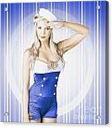 American Pinup Poster Girl In Military Uniform Acrylic Print