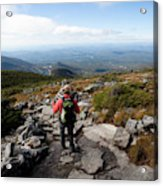 An Athletic Female Hiker Hikes Acrylic Print