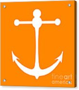 Anchor In Orange And White Acrylic Print