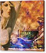 Ancient Cyprus Map And Aphrodite Acrylic Print