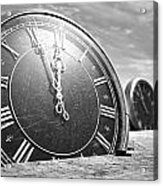 Antique Clocks In The Desert Sand Acrylic Print