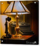 Antique Lamp Typewriter And Phone Acrylic Print