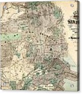 Antique Map Of City And County Of San Francisco Acrylic Print