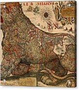 Antique Map Of Leo Belgicus 1630 Acrylic Print