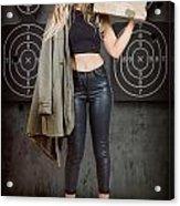 Army Pinup Girl At Rifle Range. Bullet Proof Acrylic Print