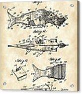 Artificial Bait Patent 1923 - Vintage Acrylic Print