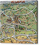Atlanta Cartoon Map Acrylic Print