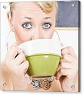 Attractive Blonde Woman Drinking Green Tea Acrylic Print