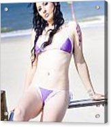 Attractive Girl On The Beach Acrylic Print