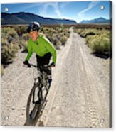 Attractive Woman Riding Her Mountain Acrylic Print