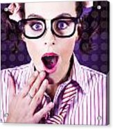 Attractive Young Nerd Girl With Surprised Look Acrylic Print