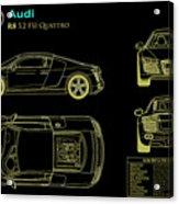 Audi R8 Blueprint Acrylic Print