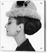 Audrey Hepburn Wearing A Givenchy Hat Acrylic Print