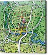 Austin Texas Cartoon Map Acrylic Print