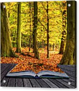 Autumn Fall Forest Landscape Magic Book Pages Acrylic Print