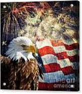 Bald Eagle And Fireworks Acrylic Print by Michael Shake