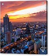 Bangkok City Skyline Sunset Acrylic Print