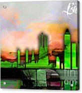 Barcelona Spain Skyline Watercolor Acrylic Print