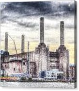 Battersea Power Station London Snow Acrylic Print
