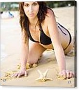 Beach Fun With A Gorgeous Brunette Acrylic Print