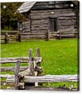 Beautiful Autumn Scene Showing Rustic Old Log Cabin Surrounded B Acrylic Print