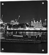 Beautiful Black And White Image Of London City At Night With Lov Acrylic Print