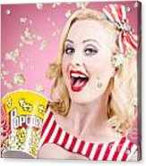 Beautiful Girl Watching Premier At Movie Theater Acrylic Print