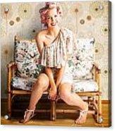 Beautiful Woman Getting New Hair Style At Salon Acrylic Print
