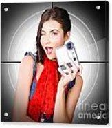 Beautiful Woman Holding Home Video Camera Acrylic Print