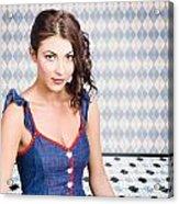 Beautiful Young Brunette Pin-up Woman  Acrylic Print