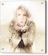 Beautiful Young Woman Blowing Snow In Winter Style Acrylic Print