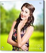 Beauty Girl. Beautiful Young Woman With Clean Skin Acrylic Print