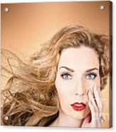 Beauty Portrait. Beautiful Woman And Long Red Hair Acrylic Print