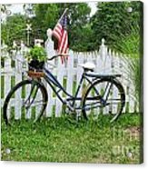 Bicycle And White Fence Acrylic Print